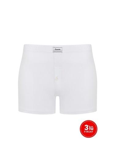 Sementa Erkek Modal Düğmeli Boxer 3'Lü Paket - Beyaz Beyaz